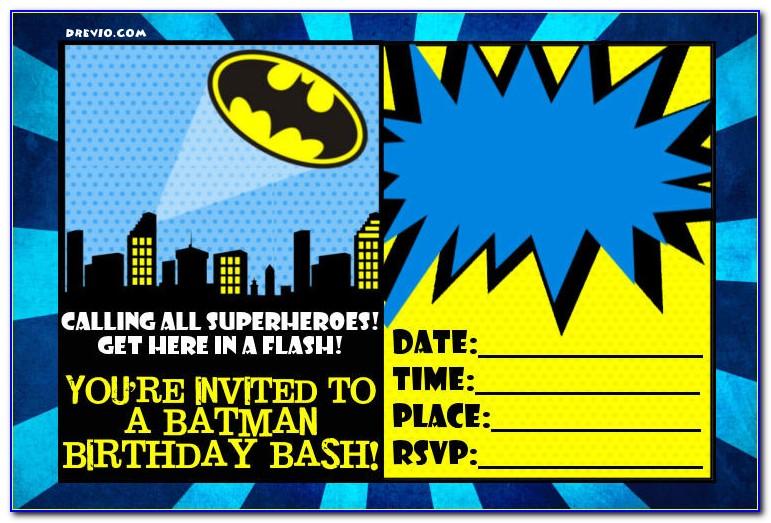 Printable Batman Invitation Cards