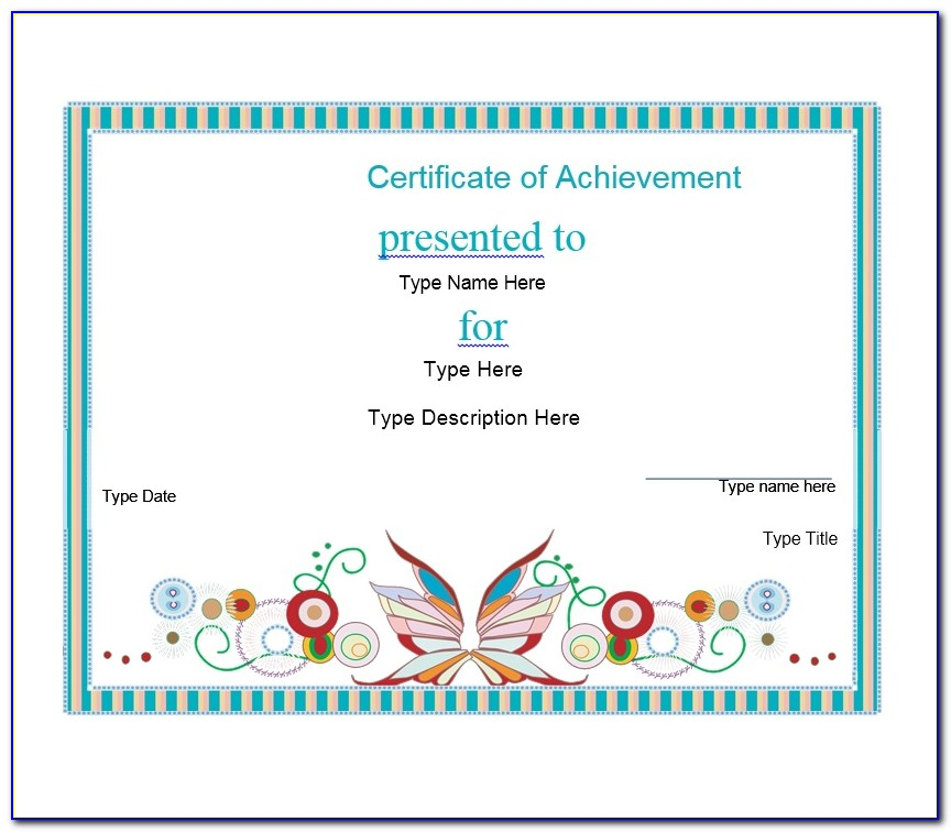 Printable Blank Certificate Of Achievement