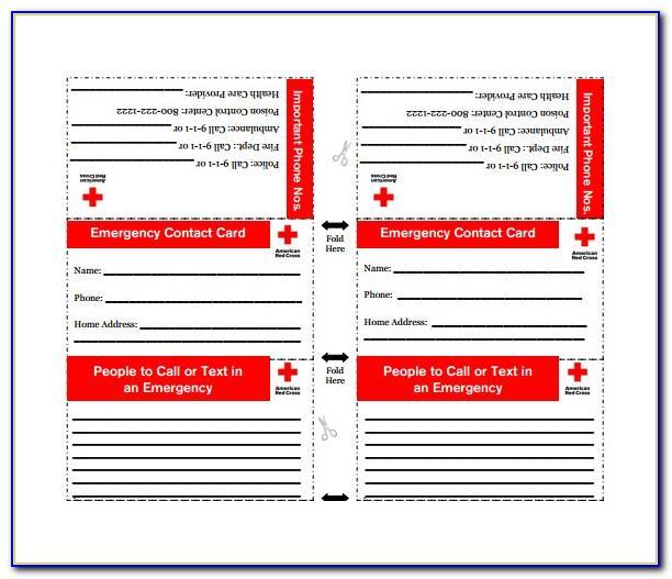 Printable Emergency Card Template Free