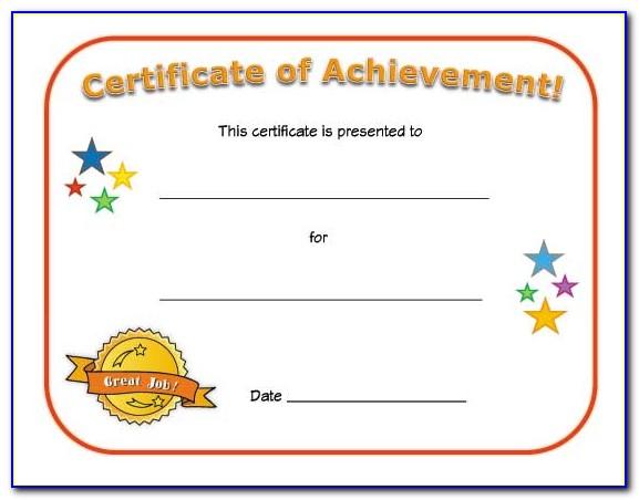 Printable Preschool Certificate Of Achievement