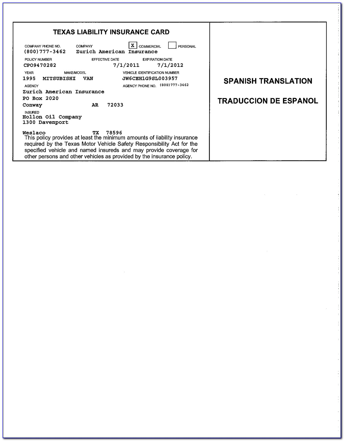 Proof Of Auto Insurance Card Template