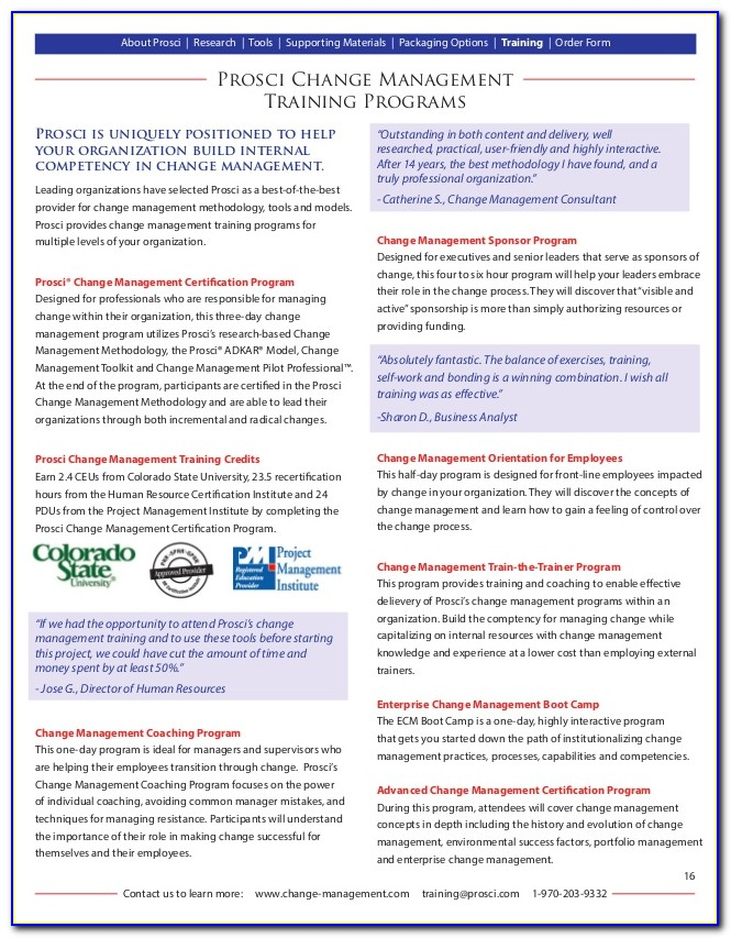 Prosci Change Management Certification Canada