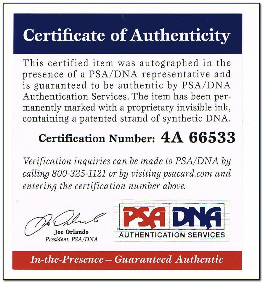 Psa Dna Autograph Certification