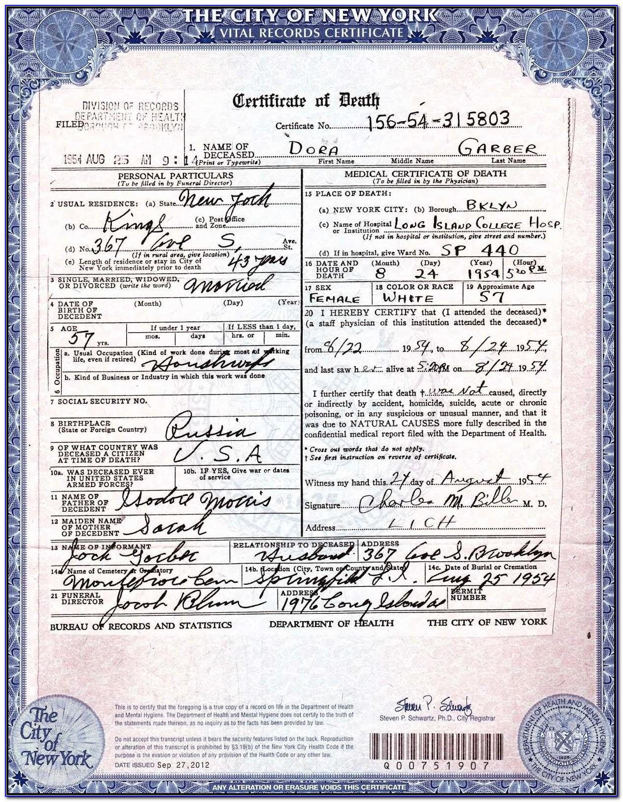 Puerto Rico Birth Certificate Copy