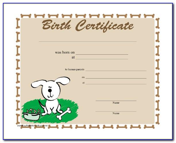 Puppy Birth Certificate Free