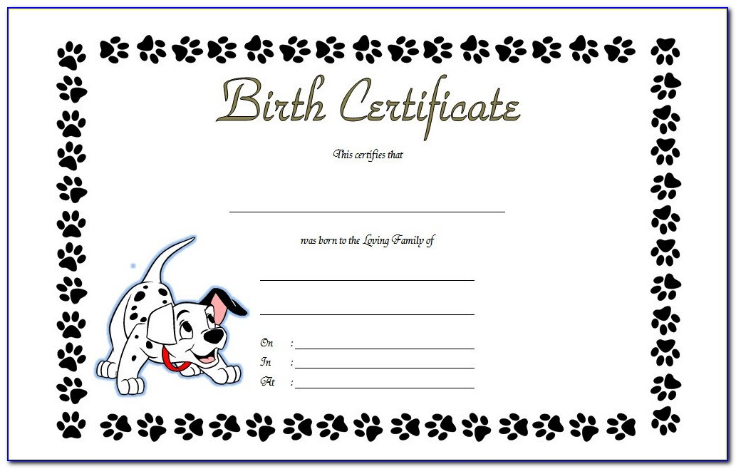 Puppy Birth Certificate Printable
