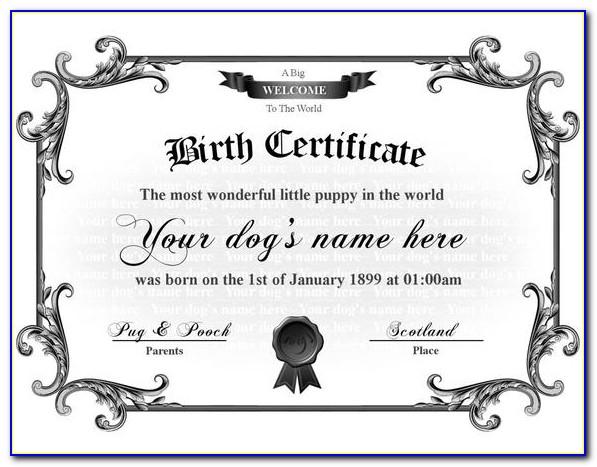 Puppy Birth Certificate Template Word