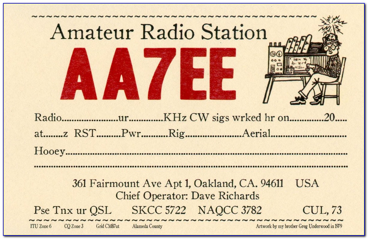 Qsl Card Back Template
