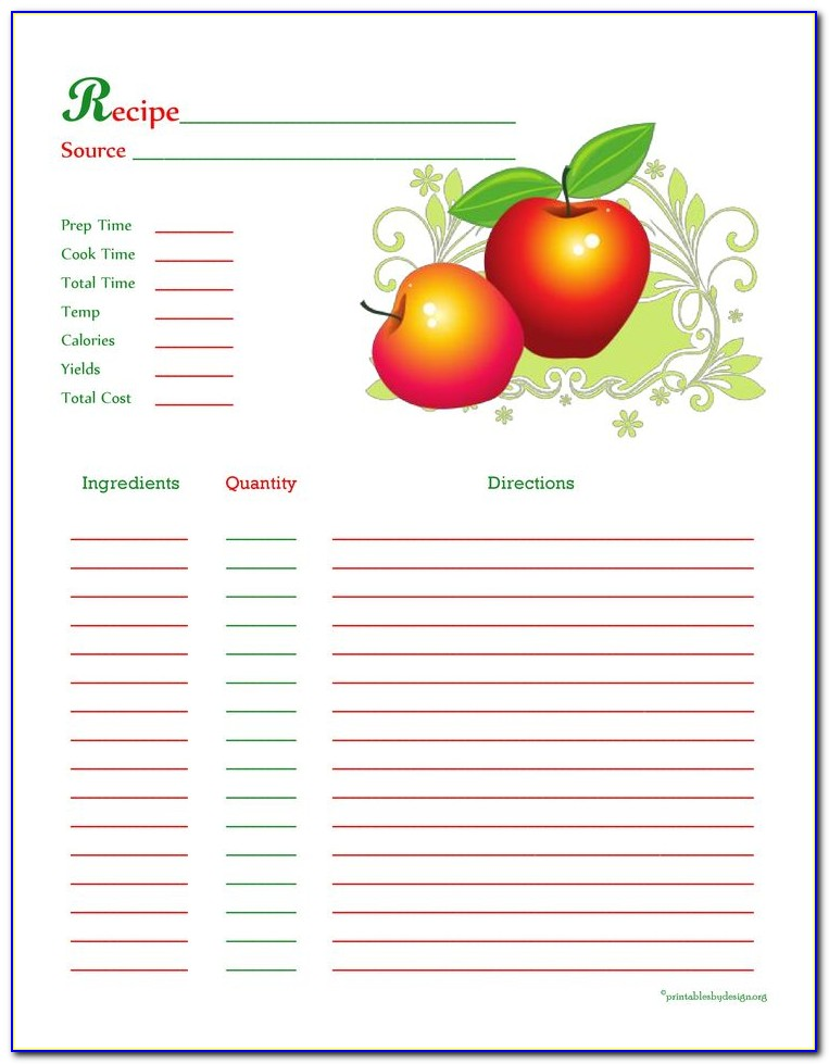 Recipe Card Template For Apple Pages