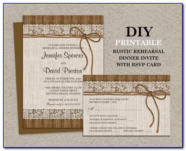 Rehearsal Dinner Invitations Menu Response Cards