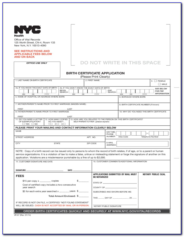 Request Birth Certificate Nyc