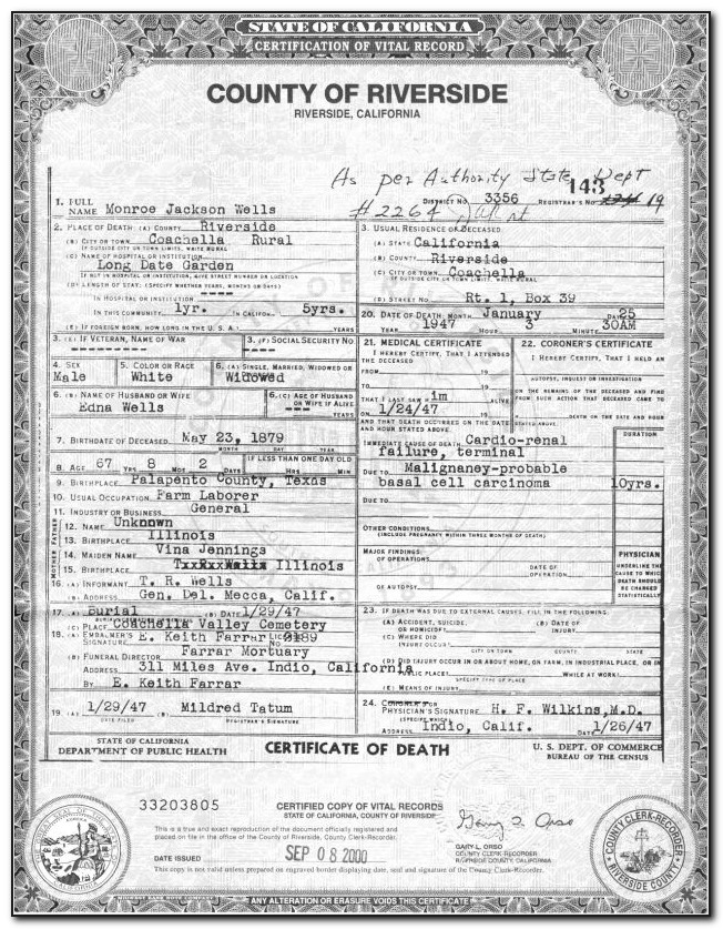 Request Birth Certificate Riverside Ca