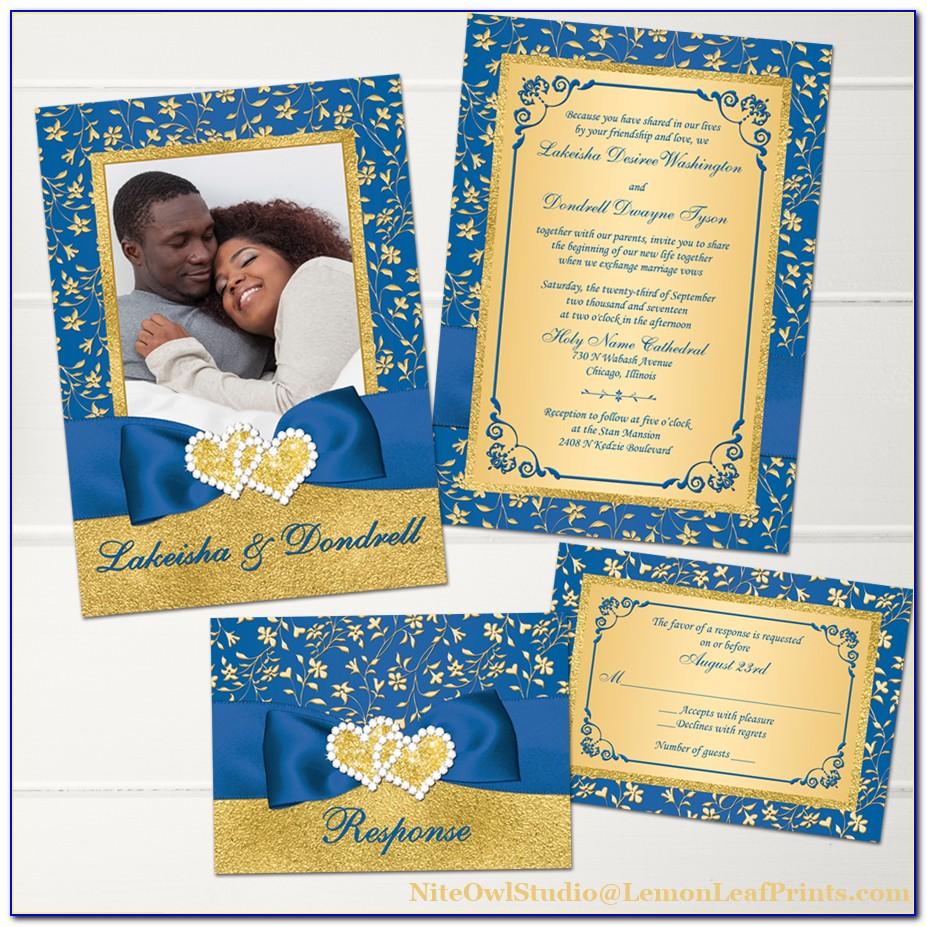 Royal Blue And Gold Invitation Card