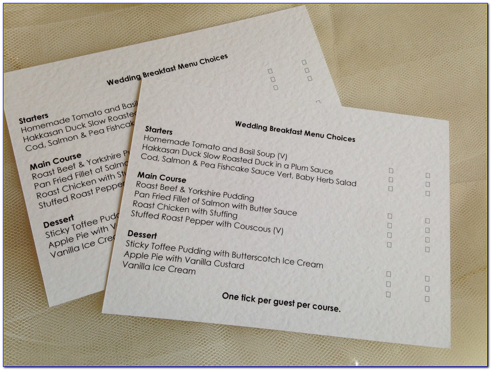 Rsvp Cards For Wedding With Menu Choices