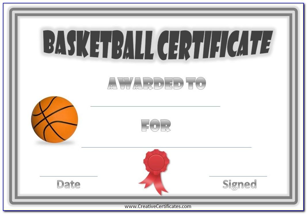 Sample Basketball Award Certificates