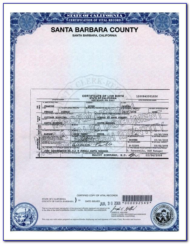 San Bernardino Birth Certificate Fee
