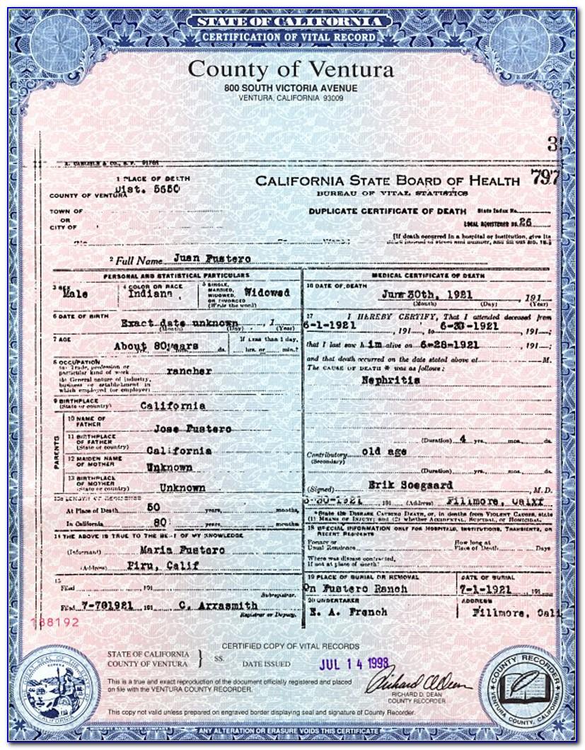 San Bernardino Birth Certificate Form