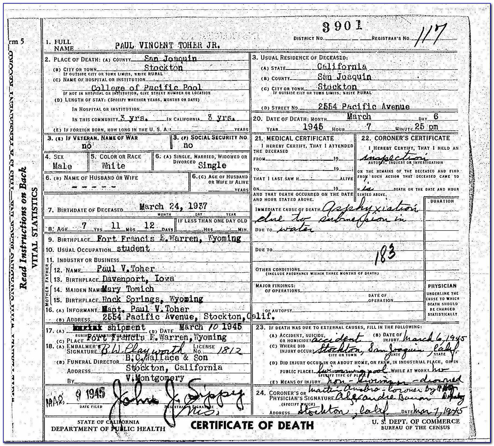 San Joaquin County Birth Certificate