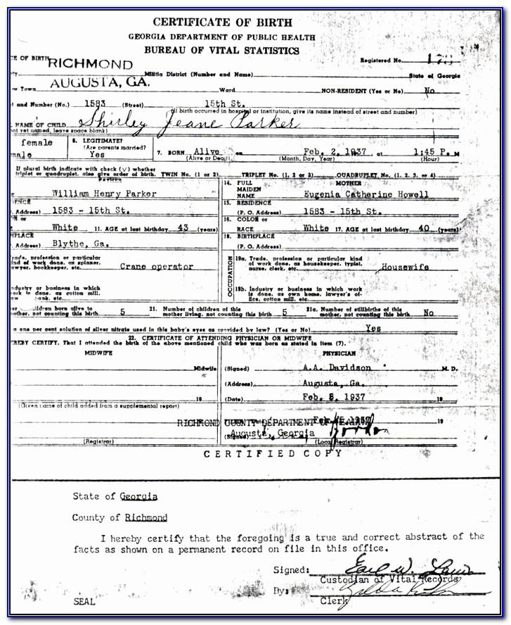 San Joaquin County California Birth Certificate