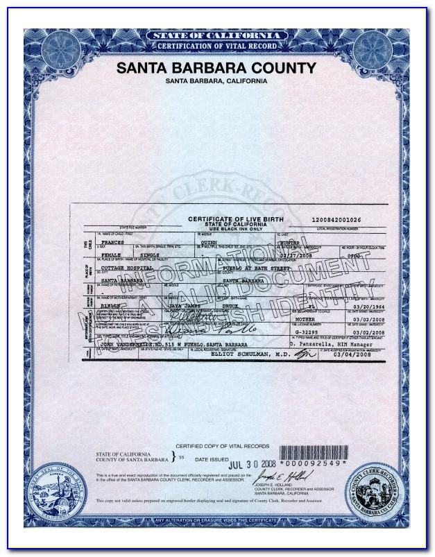 San Joaquin County Order Birth Certificate