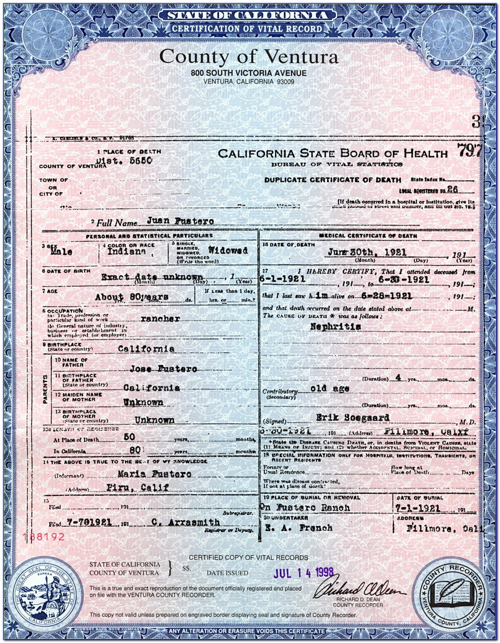 Santa Clara County Birth Certificate Apostille