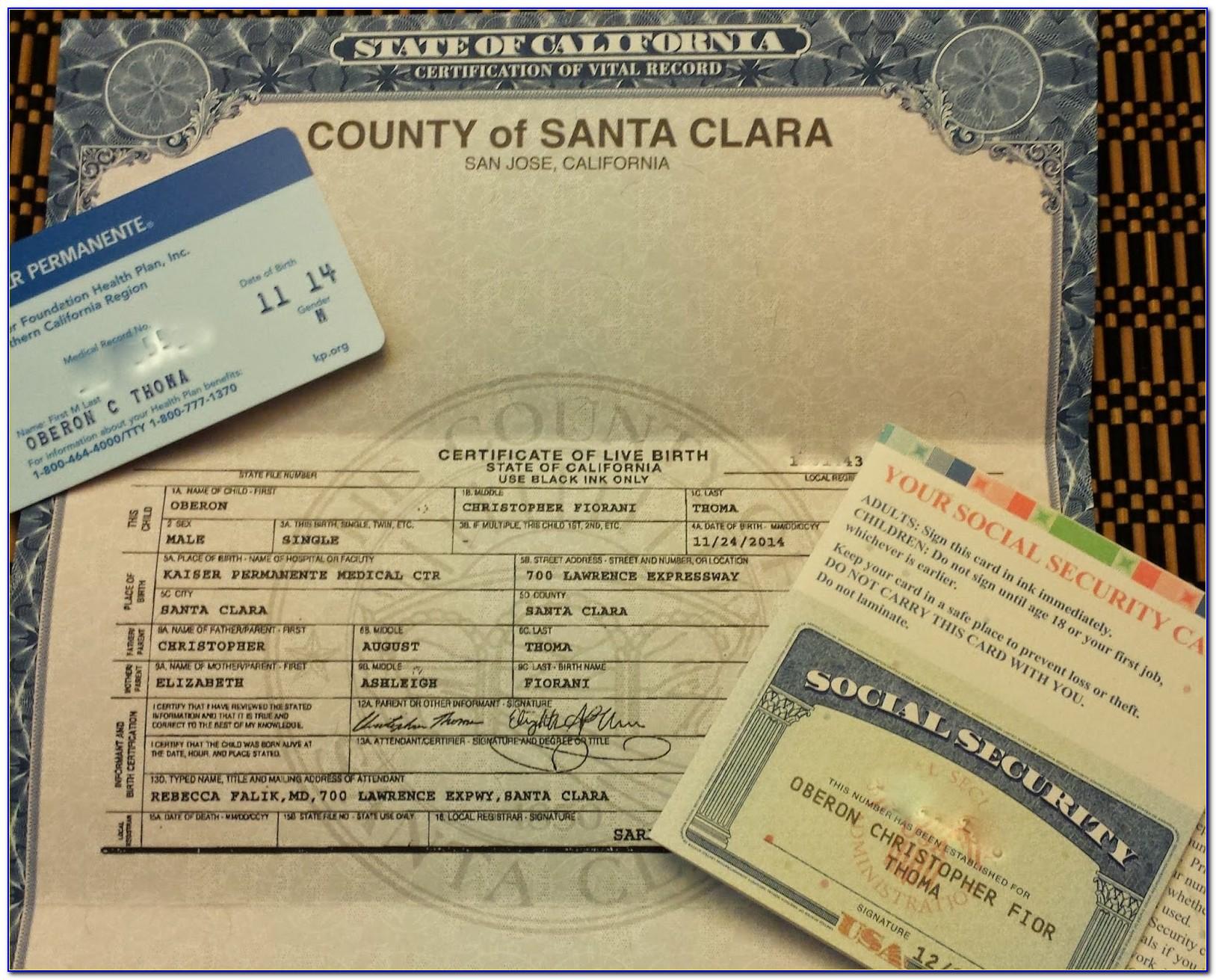 Santa Clara County Birth Certificate Copy