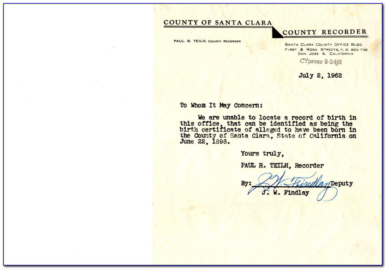 Santa Clara County Birth Certificate Fee