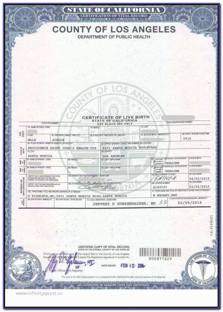 Santa Clara County Birth Certificate Form