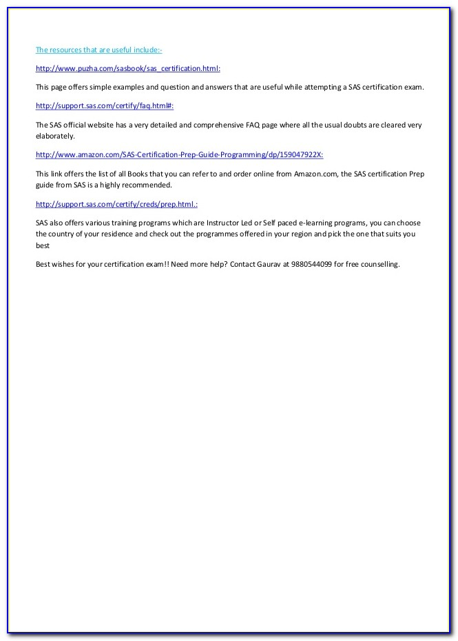Sas Certification Prep Guide Statistical Business Analysis Using Sas9
