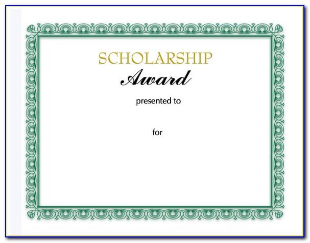 Scholarship Award Certificate Template Word