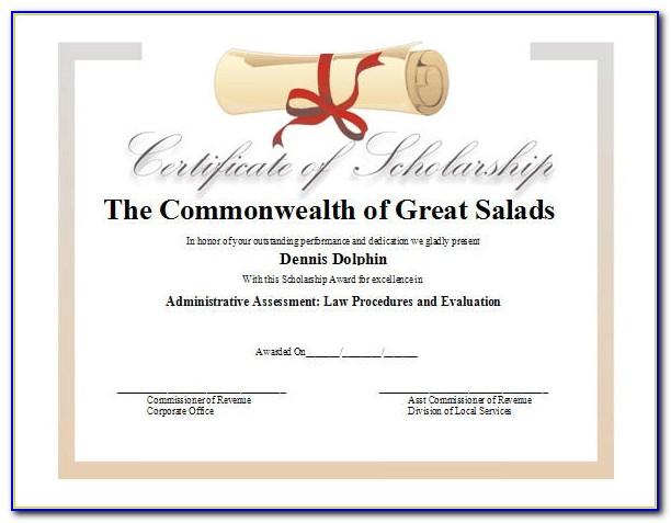 Scholarship Certificate Examples