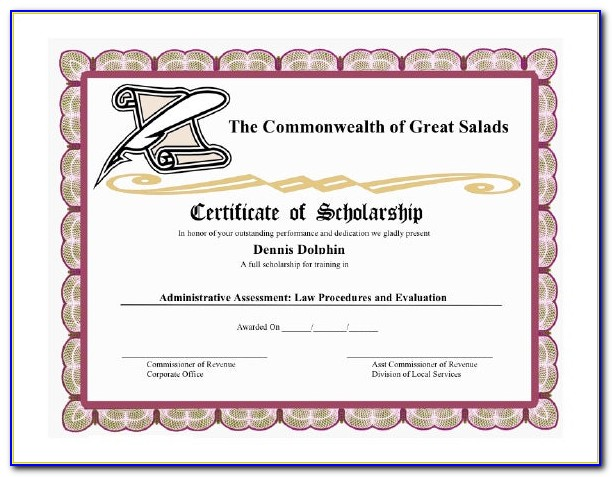 Scholarship Certificate Template Google Docs