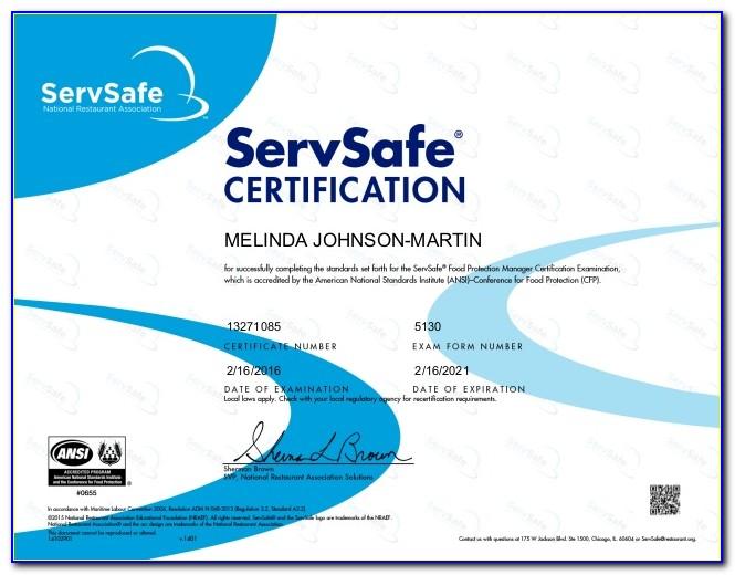 Servsafe Certification Online Cost