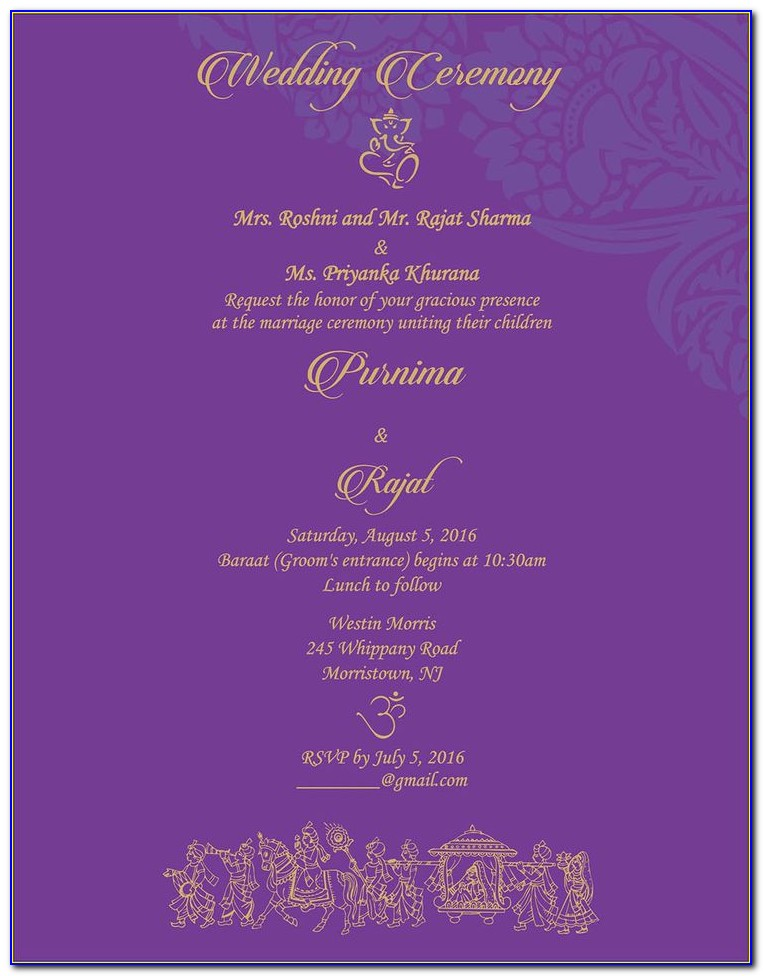 Sikh Wedding Card Matter In English For Son