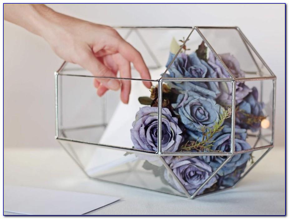 Silver Glass Wedding Card Box