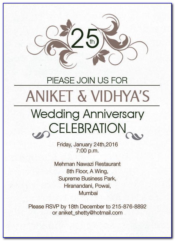 Silver Jubilee Wedding Anniversary Invitation Card Matter In Hindi