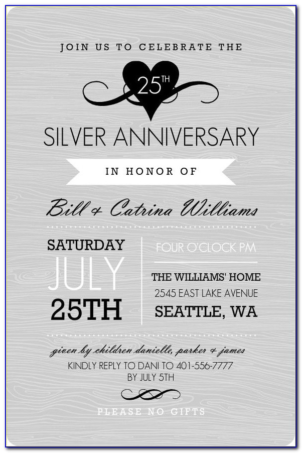 Silver Jubilee Wedding Anniversary Invitation Cards Matter
