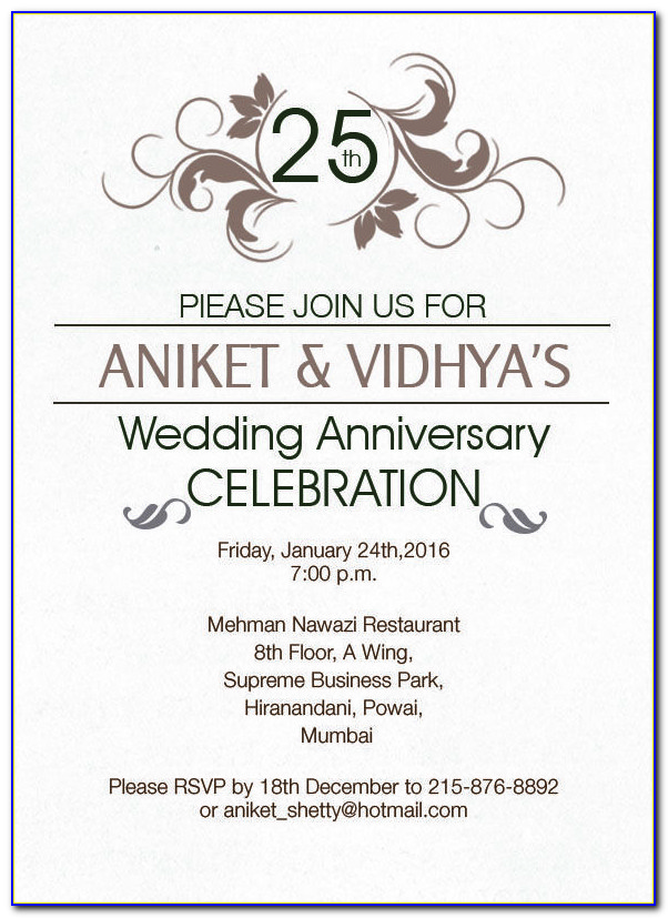 Silver Wedding Anniversary Invitation Cards Wordings