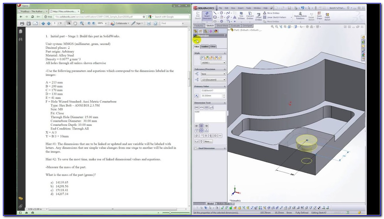 Solidworks Certification Exam Free