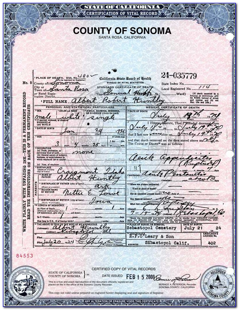 Sonoma County Birth Certificate Application
