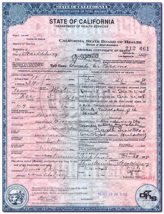 Sonoma County Birth Certificate Copy