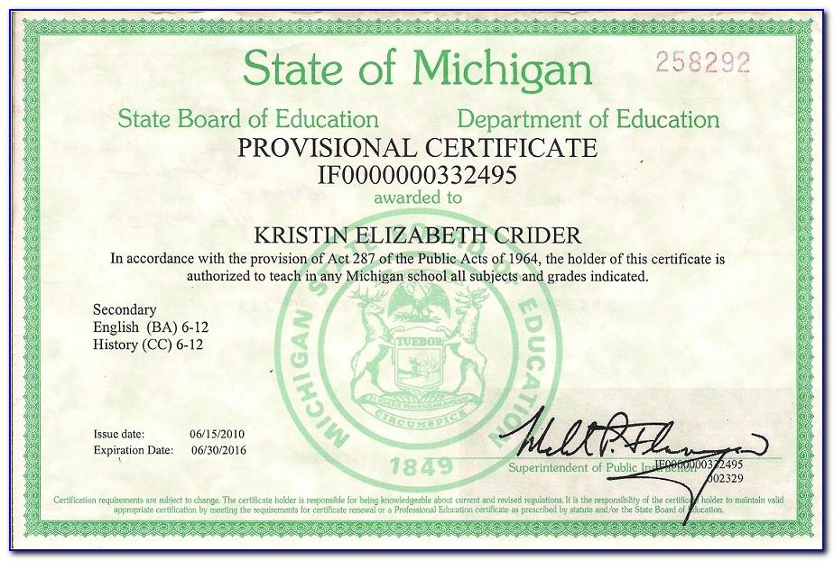 State Of Michigan Teaching Certificate Lookup