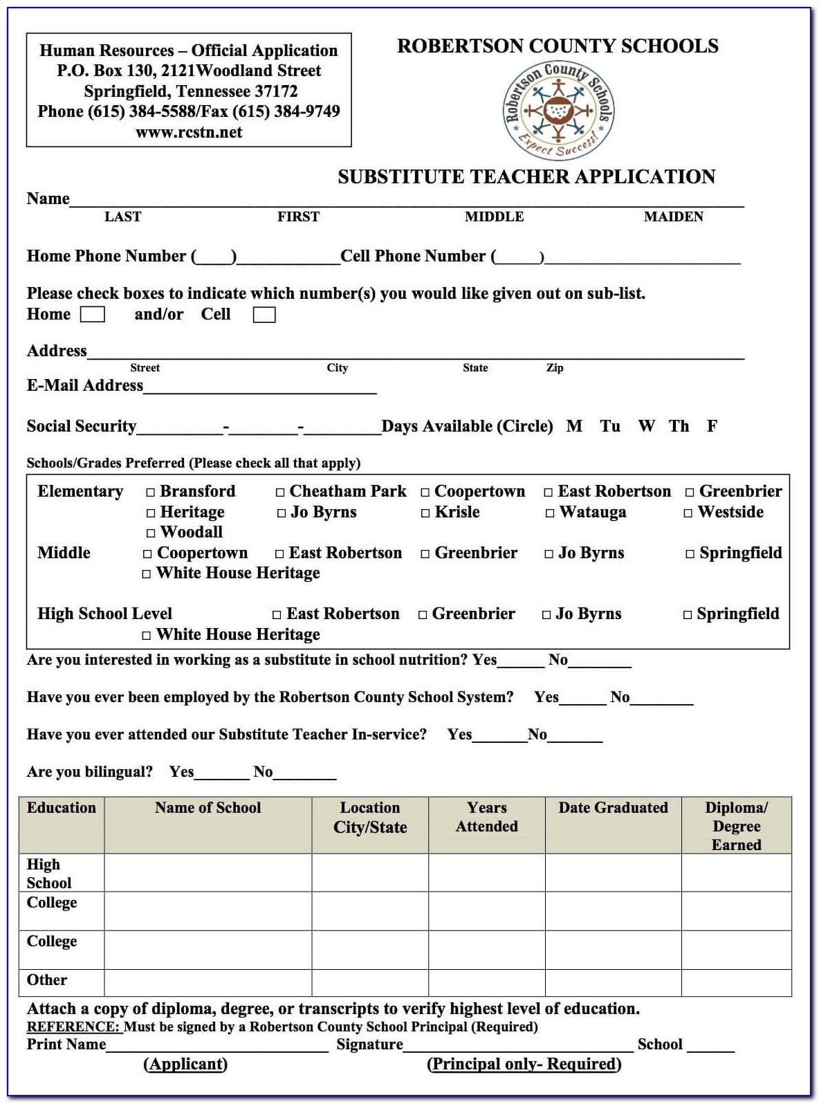 Substitute Teacher Certification Nj Application