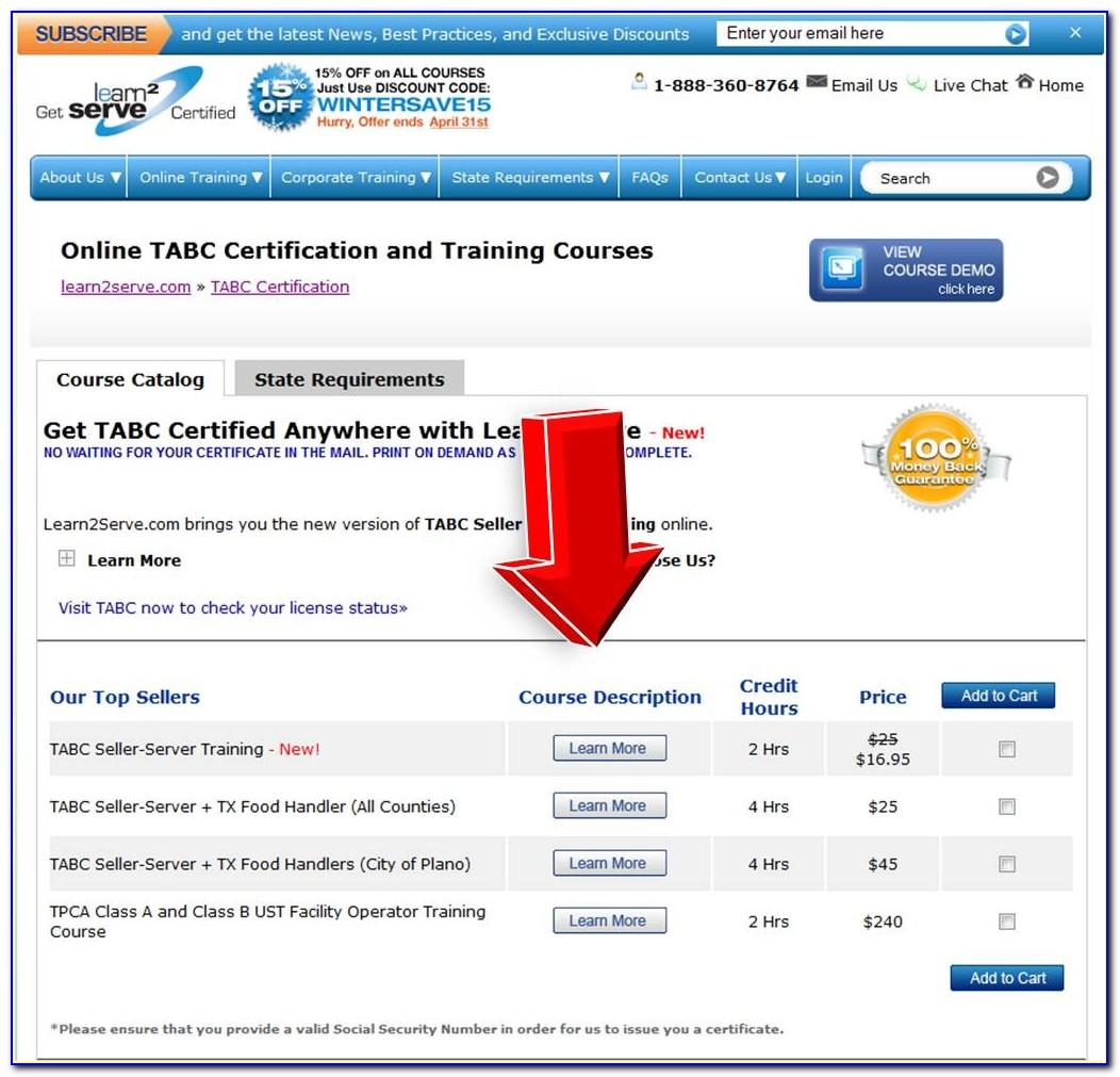 Tabc Certification Food Handlers License Texas
