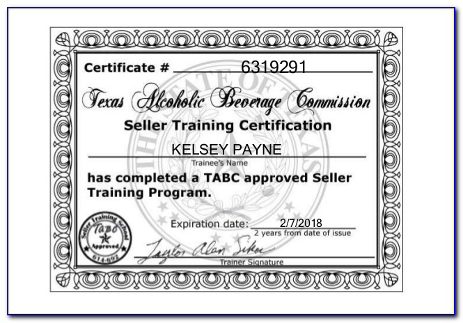 Tabc Certification Online Texas Free