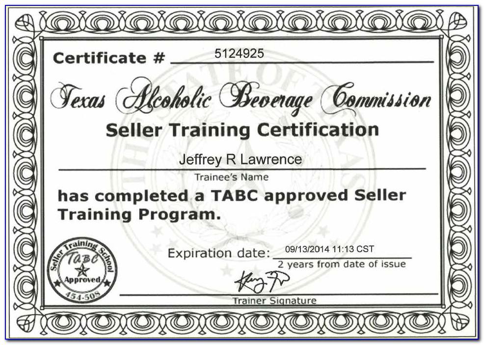 Tabc Certification Program Texas