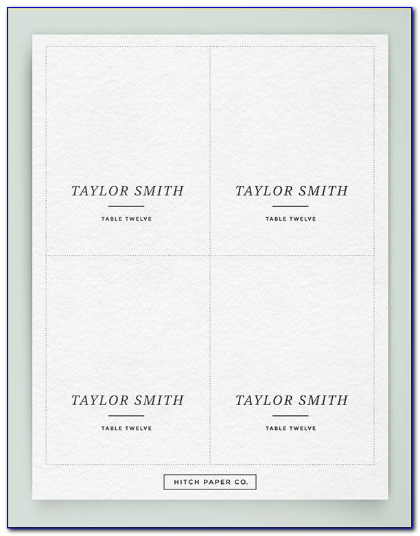 Table Name Place Cards Template