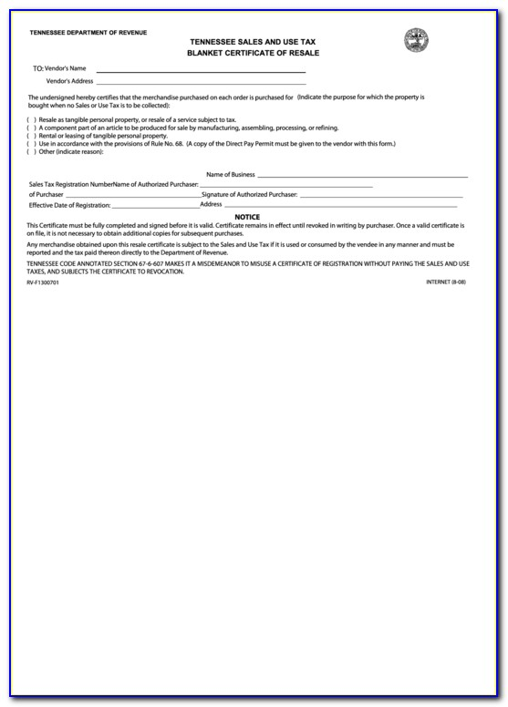Tennessee Resale Certificate Example