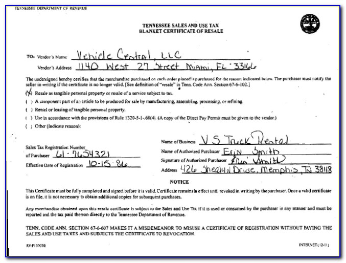 Tennessee Resale Certificate Expiration