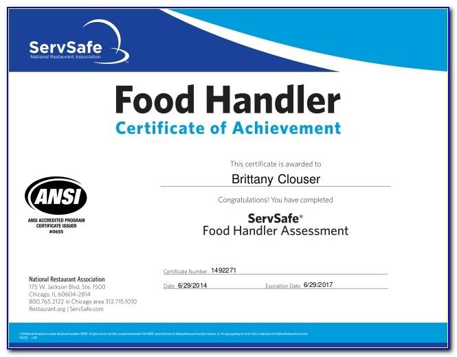 Texas Food Handlers Certification Reprint